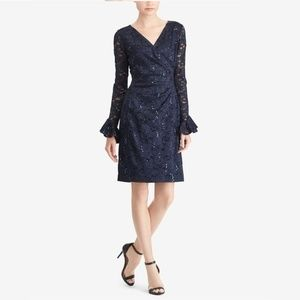 Sequined Lace Dress in Lighthouse Navy Shine